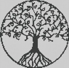 Crochet Side Stitch Going to cross stitch this for the house. The link is for a bracelet but I'm thinking full blown piece for the wall Pagan Cross Stitch, Cross Stitch Tree, Counted Cross Stitch Patterns, Cross Stitch Designs, Cross Stitch Embroidery, Needlepoint Patterns, Crochet Stitches Patterns, Beading Patterns, Embroidery Patterns