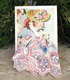 Spring Bonnet Little Lady Hanky Card
