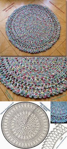 "КРУГЛЫЙ КОВРИК ИЗ РЕЗАНОЙ ТКАНИ ИЛИ ТРИКОТАЖА. [ ""all crochet: Afghans,Blankets ,Throws, Rugs, Mats."" ] # # #Circular #Rugs, # #Crochet #Rugs, # #Rug #Patterns, # #Carpets"