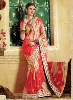 Red exclusive party wear georgette printed saree with blouse