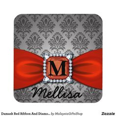 Damask Red Ribbon And Diamond Monogram And Name Beverage Coasters