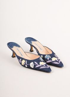 d20a9fa08cb Denim Floral Embroidered Pointed Toe Kitten Heels