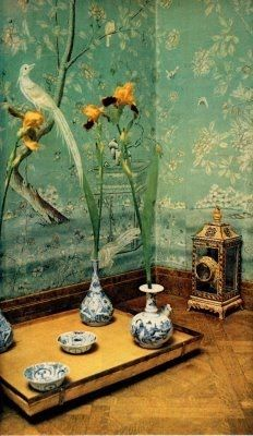Chinoiserie Wallpaper, Chinoiserie Chic, Fabric Wallpaper, Home Interior, Interior Architecture, Interior And Exterior, Interior Decorating, Interior Ideas, Plywood Furniture
