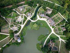 Aerial view of the hameau de la reine, Domain of Versailles, France