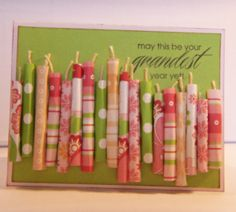 """Birthday card using CTMH Sophia papers and CTMH """"Hooray Bouquet"""" stamp set. I coated CTMH Natural Hemp with Liquid Glass for the  """"wicks"""". Card sketch by Chan Vuong. Design Inspiration by Beth Matson."""