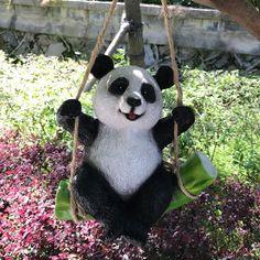 Buy Cute Black and White Panda Swing on Bamboo Creative Statue as Garden Decoration at Wish - Shopping Made Fun Panda Love, Cute Panda, Panda Bear, Animal Garden Ornaments, Panda Decorations, Eco Friendly Paint, Bamboo Garden, Animal Decor, Sculpture Art