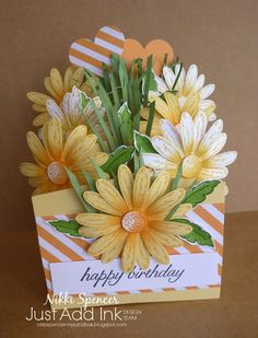 """Its time for new Just Add Ink challenge and this week Tina has suggested we all use a """"D"""" element on our projects. Pop Up Box Cards, 3d Cards, Fancy Fold Cards, Folded Cards, Handmade Birthday Cards, Greeting Cards Handmade, Scrapbooking Original, Cascading Card, Shaped Cards"""