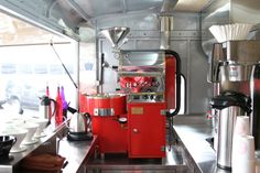 this gorgeous roaster is inside a converted bread truck.  | modcup, jersey city.