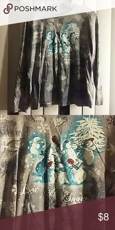 Holiday Editions Christmas Top Long sleeves Worn once Grey blue and White colors Snowmen and snow flakes Bling Size Large Holiday Editions Tops Tees - Long Sleeve