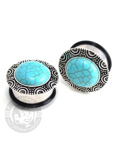 Turquoise Brass Single Flare Steel Plug