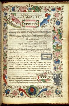 Additional 16577   f. 30v - Frontispiece at the beginning of the customs of Hanukkah. Decorated initial-word panels accompanied with full floral border inhabited by a peacock. Two medallions included into the border feature a stag and a flower.  Origin:Italy