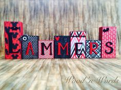 Custom order ~ Mickey Mouse Disney inspired wooden block set for home decor. Visit my FB page www.facebook.com/kimswoodnwords or follow me on Instagram @woodnwords. #woodnwords #mickeymouse #red #woodblocks #personalized