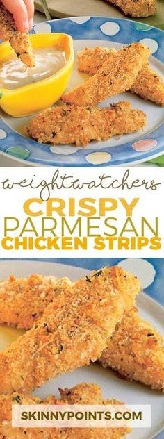 Crispy Parmesan Chicken Strips With Only 5 Weight Watchers Smart Points. we used bread crumbs tasty!ours is 7 Smart Points Poulet Weight Watchers, Plats Weight Watchers, Weight Watcher Dinners, Weight Watchers Smart Points, Weight Watchers Recipes With Smartpoints, Air Fryer Recipes Weight Watchers, Weight Watchers Success, Weight Watchers Appetizers, Weight Watchers Lunches