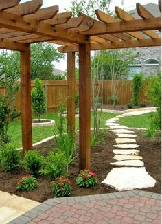 Another view of what I want in backyard. DIY Add landscaping to your backyard with corner pergola. ~ lots of inspiring landscaping ideas ~ Pictures Of Texas Xeriscape Gardens Small Backyard Landscaping, Backyard Patio, Gravel Patio, Luxury Landscaping, Landscaping Tips, Modern Backyard, Desert Backyard, Pergola Patio, Sloped Backyard