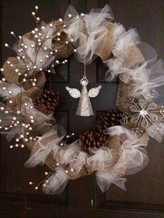 My creation! Easy burlap & tulle wreath