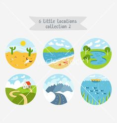 Little locations travel landscapes collection vector by stolenpencil on VectorStock®