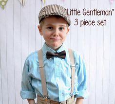 Boy's Vintage Wedding 3 Piece set  Brown Tweed by Hugabugkids