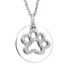 ASPCA® Tender Voices™ Diamond Accent Paw Print with Disc Pendant in S..