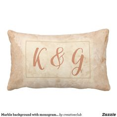 Marble background with monogram text #monogrammed #initials #weddinggift #pillow