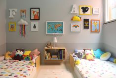 Just liked the floor beds. Baby And Toddler Shared Room, Boy And Girl Shared Room, Toddler Rooms, Shared Rooms, Room Design Bedroom, Kids Room Design, Home Room Design, Kids Bedroom, Boy Girl Bedroom