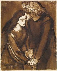 Two Lovers by Dante Gabriel Rossetti, 1850 Art Print by Fine Earth Prints - X-Small Dante Gabriel Rossetti, John Everett Millais, William Morris, William Blake, A4 Poster, Poster Prints, The Kiss, Pre Raphaelite Paintings, Birmingham Museum