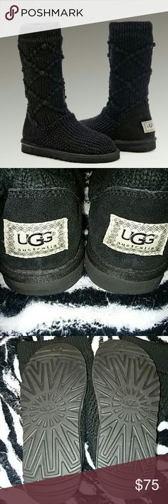 Authentic UGG Authentic UGG Australia Boots, S/N 5879, Mid Calf Length, No Buttons,  pattern and cozy sweater knit, nice and clean. ** Size 5 Women's** No damage at all. UGG Shoes Winter & Rain Boots