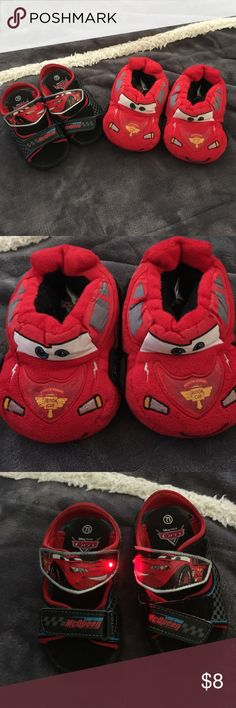 LIGHTENING MCQUEEN SHOE BUNDLE Light up Lightening velcro sandals size 71/2 toddler and Lightening slippers size 5/6 toddler.  Smoke free home.  Great condition Disney Shoes Sandals