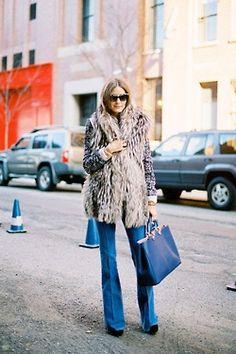 fur vest, 70s jeans