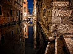 Evening photograph of the Ponte san Provolo in Venice Italy