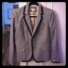 jCrew Blazer Grey and navy pipping tailored blazer with gold buttons J. Crew Jackets & Coats Blazers
