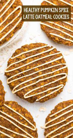 healthy pumpkin spice latte oatmeal cookies #healthybaking #easydesserts #fallrecipes