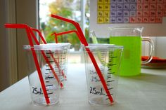 easy way to make plastic cup look like lab beakers