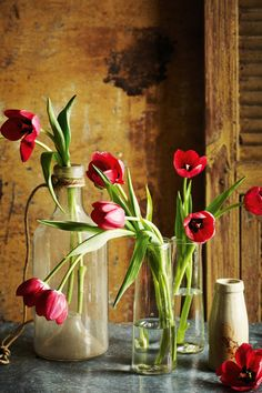 Tulips in French vases from Izzi and Popo. Ceramic vase from K7 Vintage Wares.