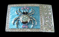 BLUE CRYSTAL RHINESTONE SPIDER INSECT DRESSY WOMENS BELT BUCKLE BUCKLES