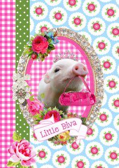 varkentje,lief,dierenkaart,boerderij,verjaardagskaart,felicitatiekaart,uitnodiging,little diva,meisjeskaart,meisje