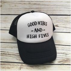 c1b8216dc0698 Good Vibes and High Fives Tiny Trucker hat by ADarlingSurprise High Five,  Good Vibes,