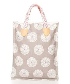 Loving this Gray & Light Pink Tahiti Beach Magazine Tote sea urchin bag neutral coastal nautical