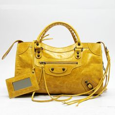 Yellow leather Balenciaga bag.