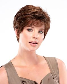 Bree (Exclusive) Synthetic Wig by Jon Renau. This O'solite short pixie has loads of layers for lots of styling options. Wear this wig tousled for volume or smoothed for evening elegance. Short Curly Haircuts, Curly Hair Cuts, Best Wig Outlet, Jon Renau, Short Pixie, Pixie Cut, Short Hair, Hair Nets, Costume Wigs