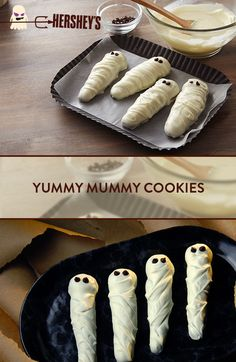 You'll have Halloween all wrapped up with these Yummy Mummy Cookies, made with HERSHEY'S Baking Chips!