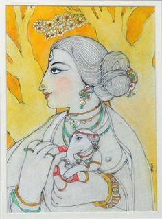 'Uma' - Krishna Bandopadhyay - Tempera - x Ganesha Painting, Ganesha Art, Lord Ganesha, Madhubani Art, Madhubani Painting, Indian Folk Art, Indian Artist, Bengali Art, Abstract Painting Techniques