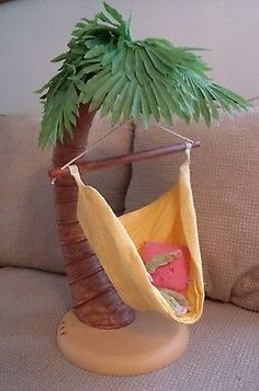 American Girl Doll Accessory Jess' Palm Tree Hammock Swing With Monkey & Pillow
