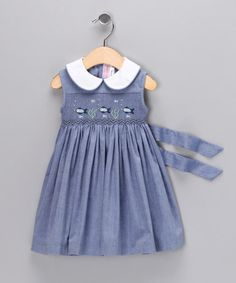Chambray Fish Smocked Sleeveless Dress