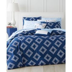 Whim by Martha Stewart Collection Diamond Coast 5-Pc. Full/Queen... ($48) ❤ liked on Polyvore featuring home, bed & bath, bedding, comforters and navy