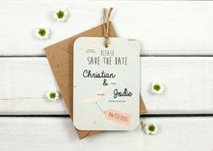 Map save the date luggage tag personalised by normadorothy