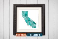 California State Map Print - Personalized Geometric Wall Art CA Colorful Abstract Poster, Minimal, Unique and Customized Triangle Decor