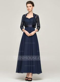 A-Line/Princess Sweetheart Ankle-Length Chiffon Lace Mother of the Bride Dress (008062564) - JJsHouse Mob Dresses, Event Dresses, Wedding Party Dresses, Wedding Attire, Bridesmaid Dresses, Dressy Dresses, Peplum Dresses, Bride Dresses, Mother Of Groom Dresses