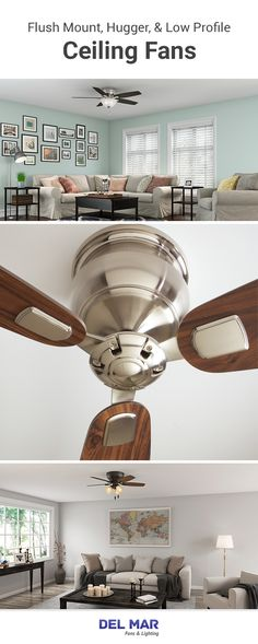 Style Your Home with Low Profile & Hugger Fans: Hugger ceiling fans, and other low profile cooling fixtures, will provide abundant cooling while keeping a short motor housing to avoid clearance issues. | Del Mar Fans & Lighting #fans #hugger #lowprofile #homedesign Hugger Ceiling Fan, Flush Mount Ceiling Fan, Desk Fan, Ceiling Fans, Kitchen Aid Mixer, Profile, House Design, Lighting, Modern