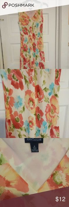 """Ann Taylor Dress Ann Taylor Dress, 100% silk, floral print, mid-calf length, fully lined,  good condition.  Dress has two layers of fabric the upper floral print and a solid cream color under lining. Width 18"""" across Dress is on bias cut.  Smoke free environment.  Thank you for looking at my closet!                                                                                   3/8 Ann Taylor Dresses"""