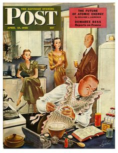 The Saturday Evening Post - April 1946, Trying Their Patience by Konstantin Alajalov